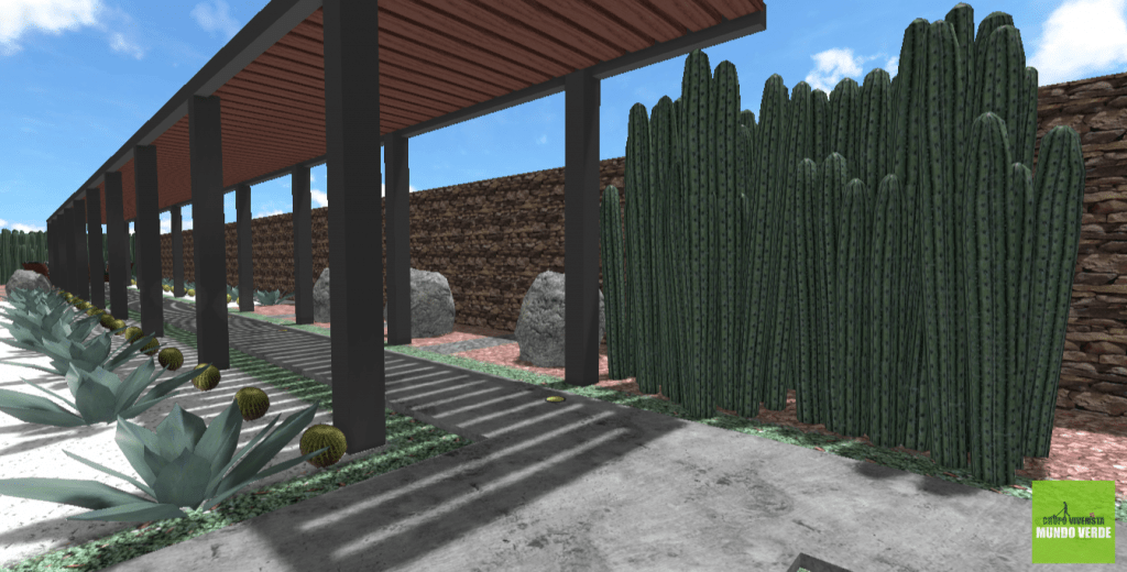 Diseño de jardín desértico moderno para Los Sauces, El Refugio