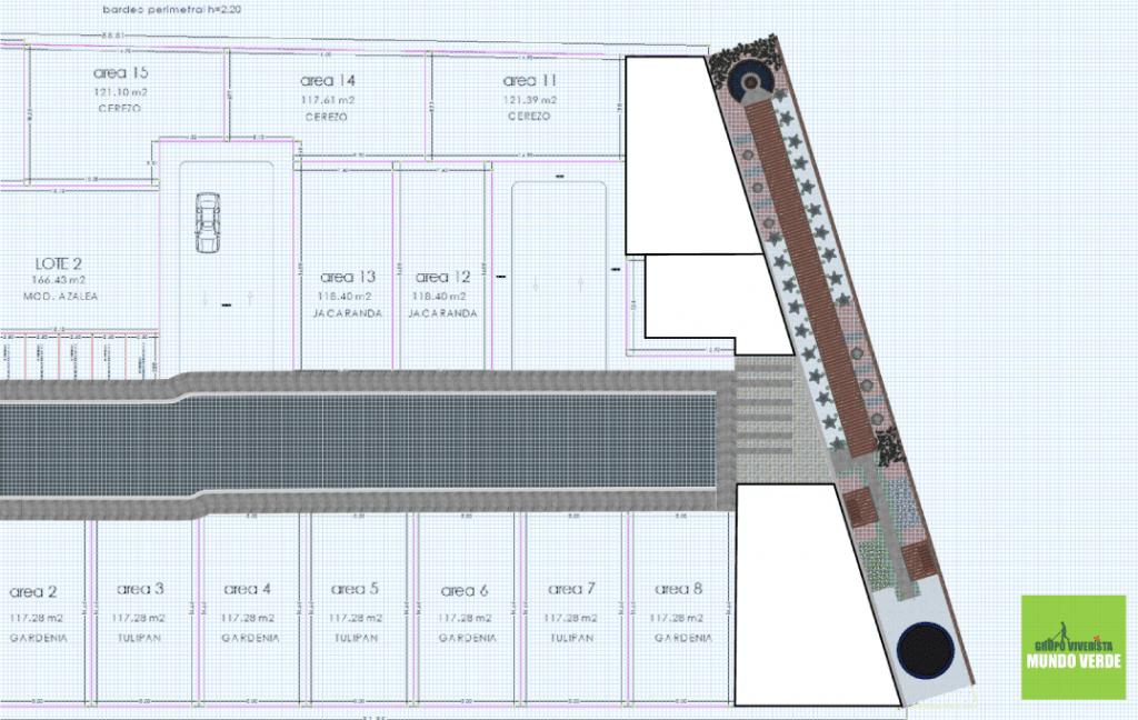 Plano digital del diseño de jardín desértico moderno para Los Sauces, El Refugio